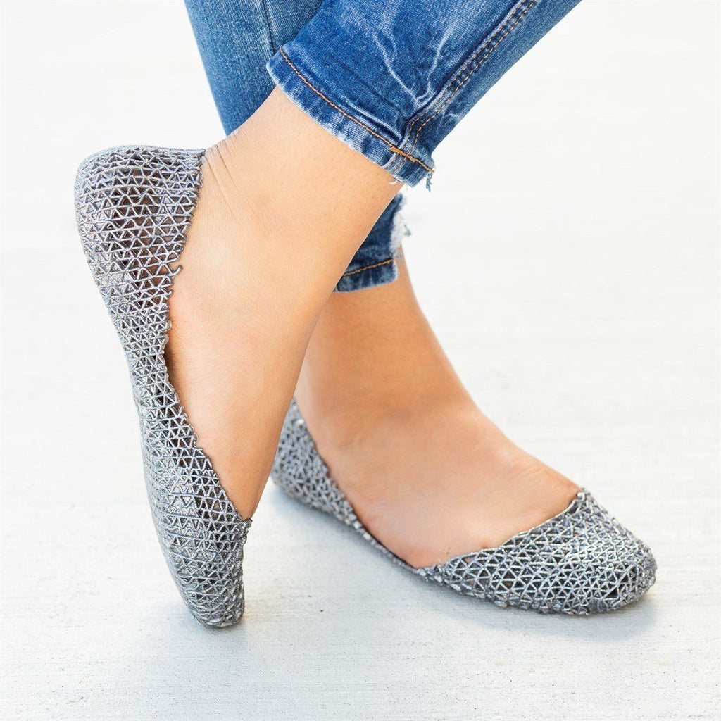 Womens Adorable Glitter Lacy Jelly Flats - Nature Breeze - Pewter / 5