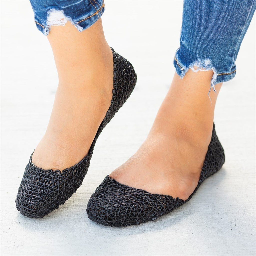 Womens Adorable Glitter Lacy Jelly Flats - Nature Breeze