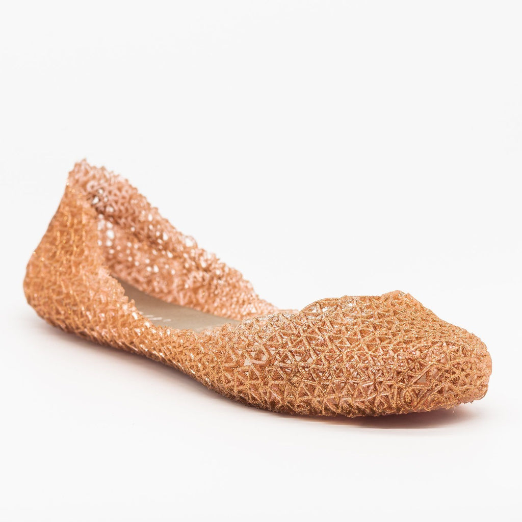 Womens Adorable Glitter Lacy Jelly Flats - Nature Breeze - Rose Gold / 5
