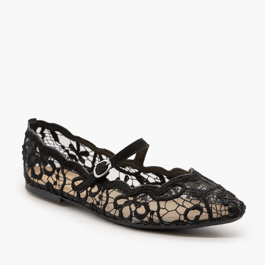 Womens Adorable Lace Ballet Flats - Bamboo Shoes - Black / 5