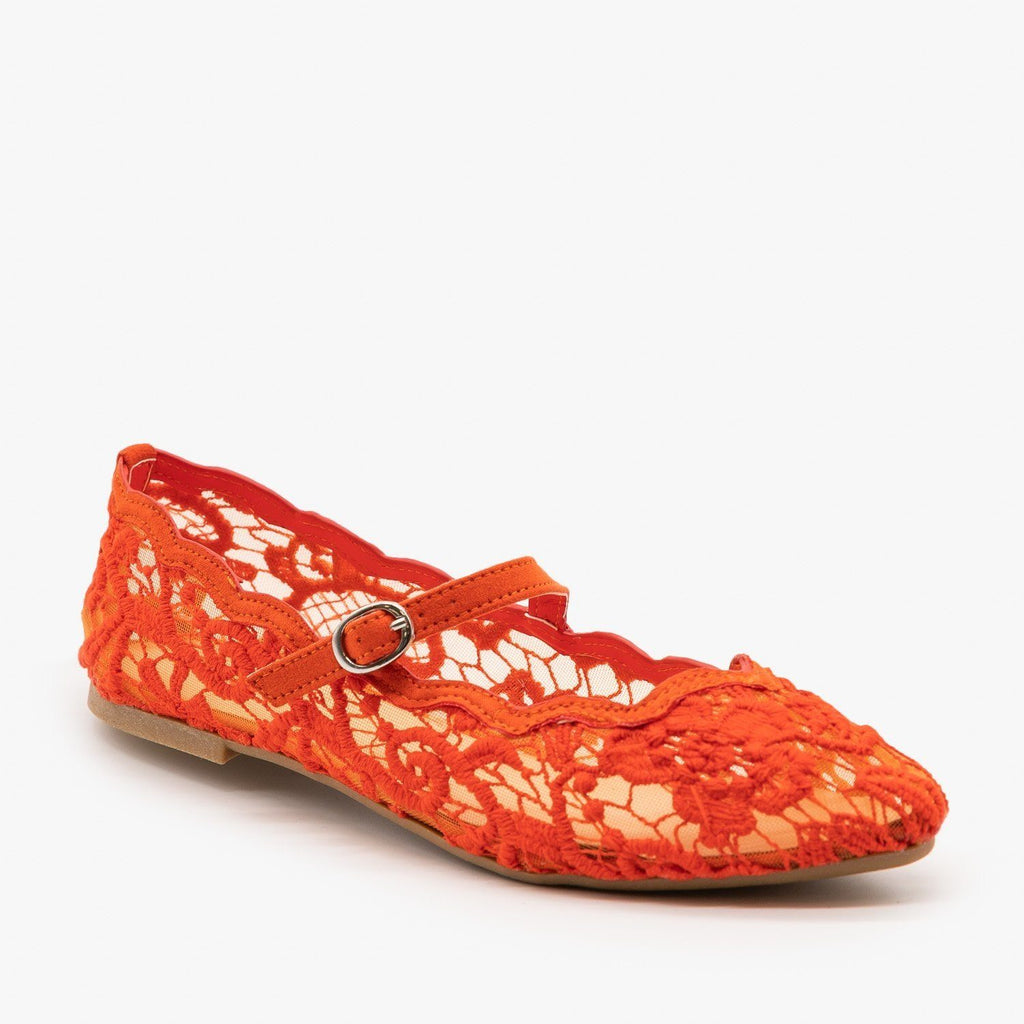 Womens Adorable Lace Ballet Flats - Bamboo Shoes - Orange / 5
