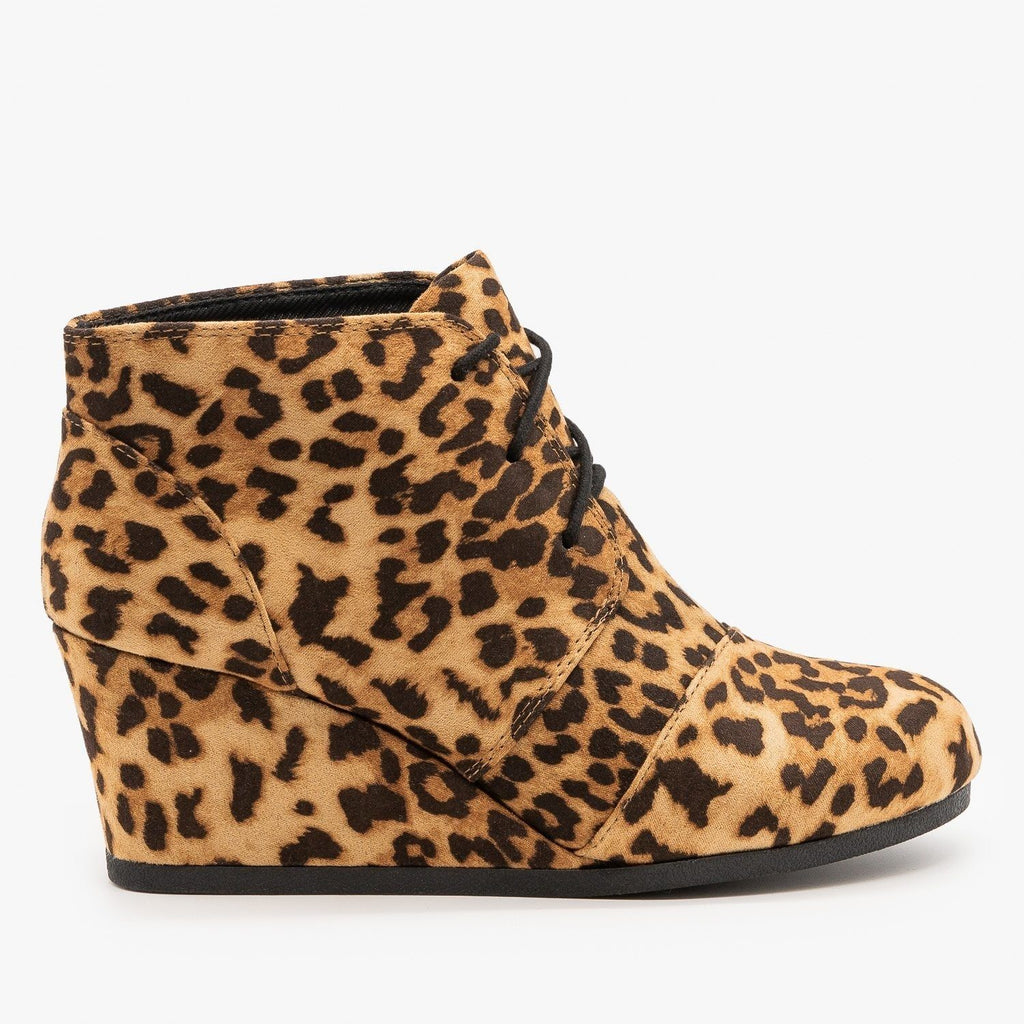Womens Adorable Lace-Up Bootie Wedges - City Classified Shoes - Cheetah Tan / 5