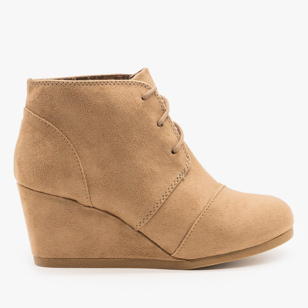 Womens Adorable Lace-Up Bootie Wedges - City Classified Shoes - Light Taupe / 5