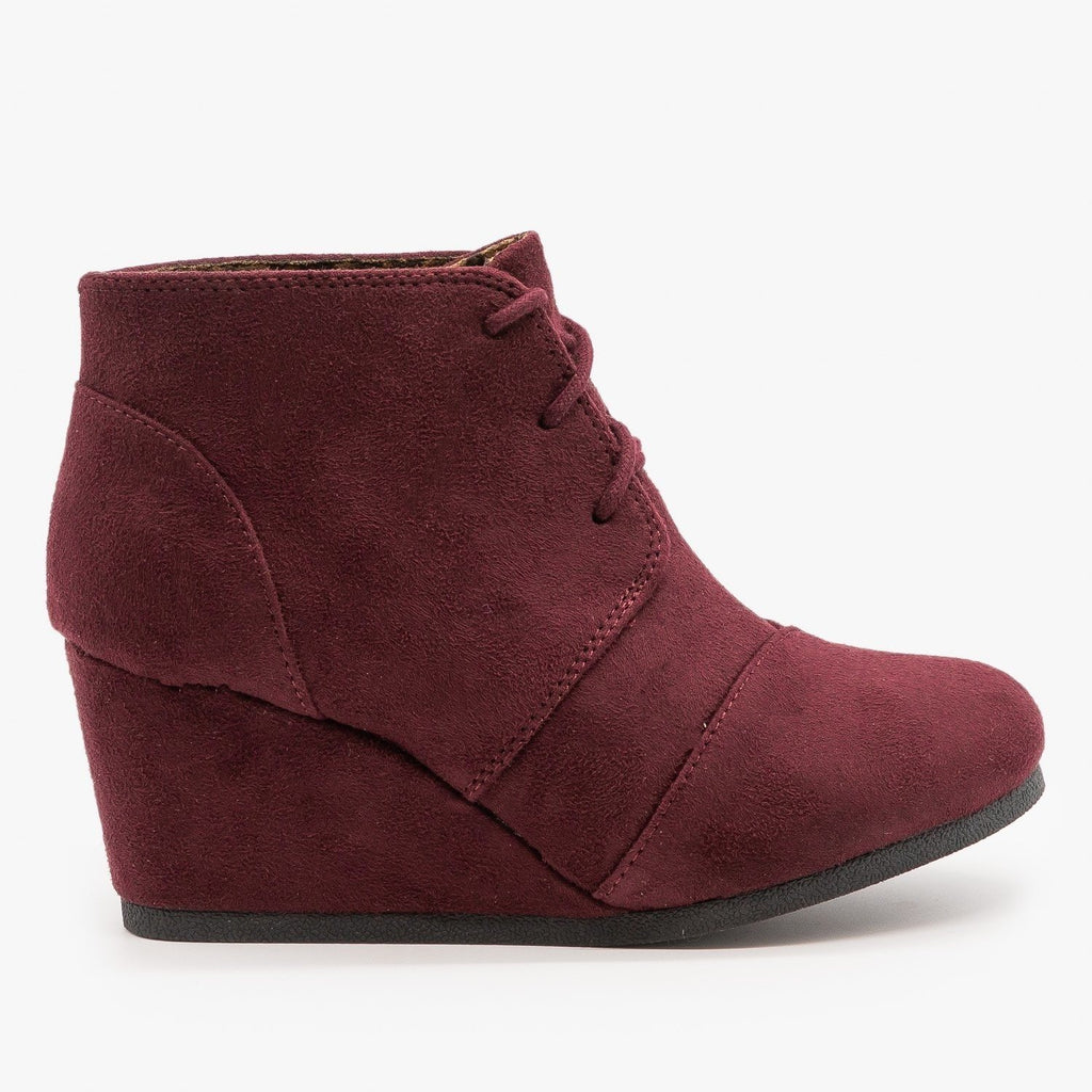 Womens Adorable Lace-Up Bootie Wedges - City Classified Shoes - Vino / 5