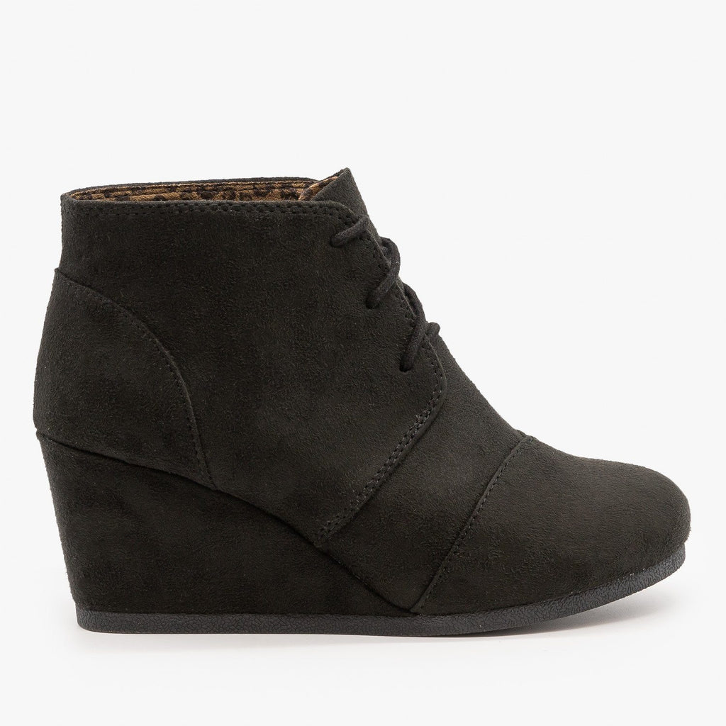 Womens Adorable Lace-Up Bootie Wedges - City Classified Shoes - Black / 5