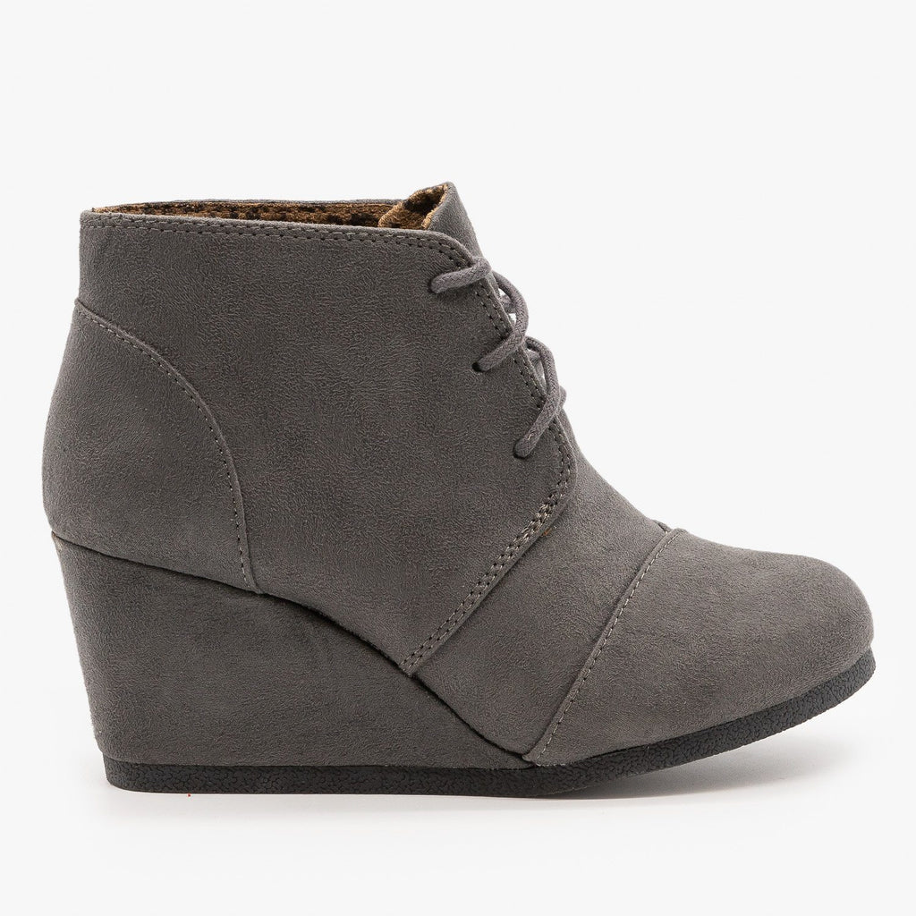 Womens Adorable Lace-Up Bootie Wedges - City Classified Shoes - Charcoal / 5