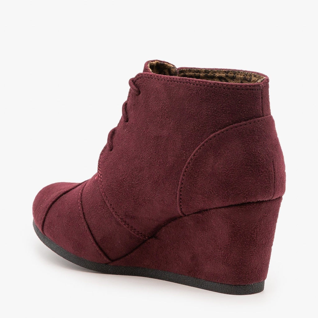 Womens Adorable Lace-Up Bootie Wedges - City Classified Shoes