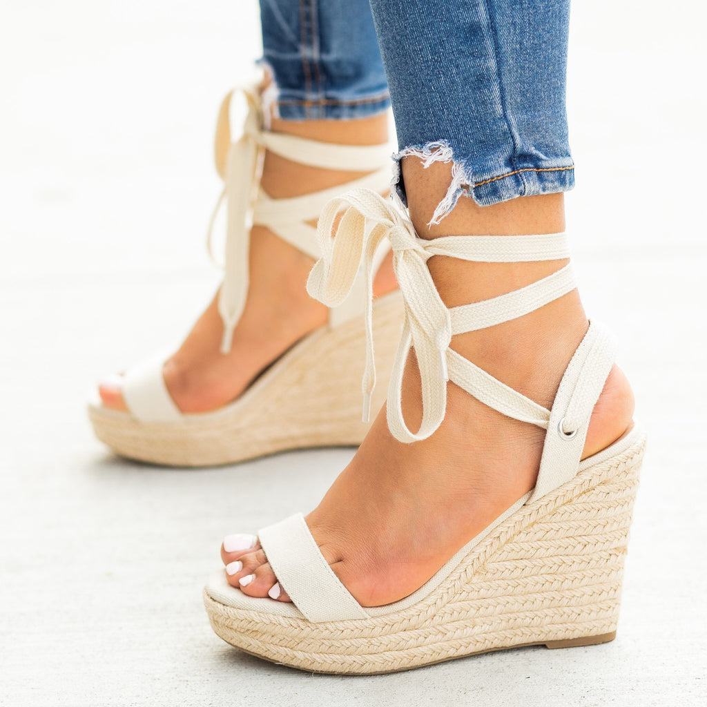 Womens Adorable Lace-Up Espadrille Wedges - Delicious Shoes - Pale Beige / 5
