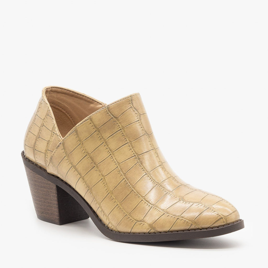 Womens Adorable Low Ankle Booties - Mata - Beige Crocodile / 5