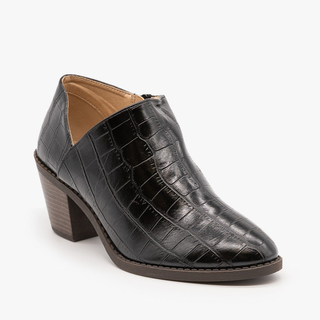Womens Adorable Low Ankle Booties - Mata - Black Crocodile / 5