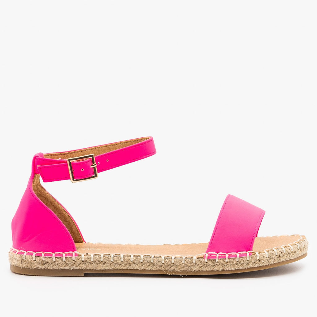 Womens Adorable Open-Toe Espadrille Sandals - Bella Marie - Neon Pink / 5