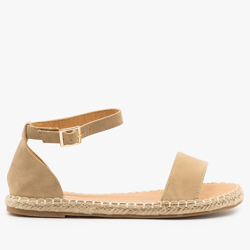 Womens Adorable Open-Toe Espadrille Sandals - Bella Marie - Taupe / 5
