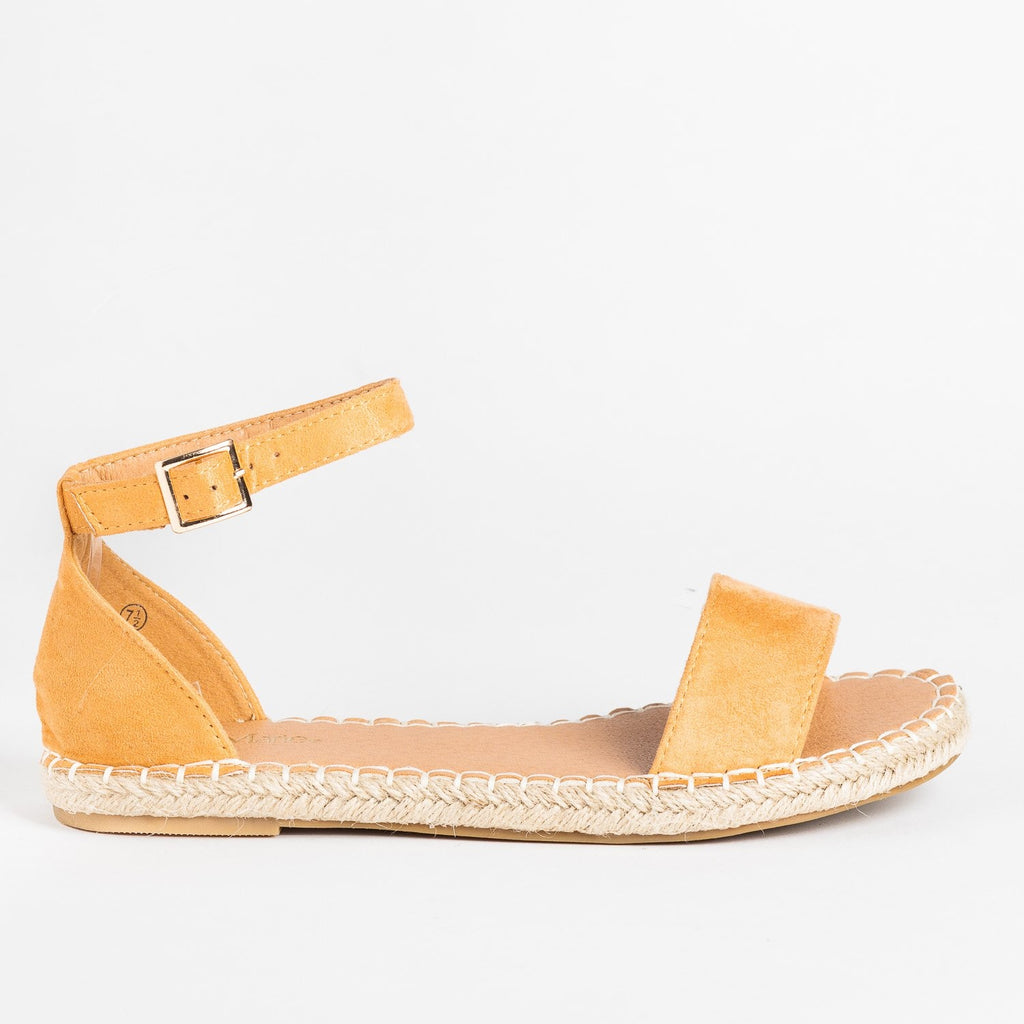 Womens Adorable Open-Toe Espadrille Sandals - Bella Marie - Camel / 5