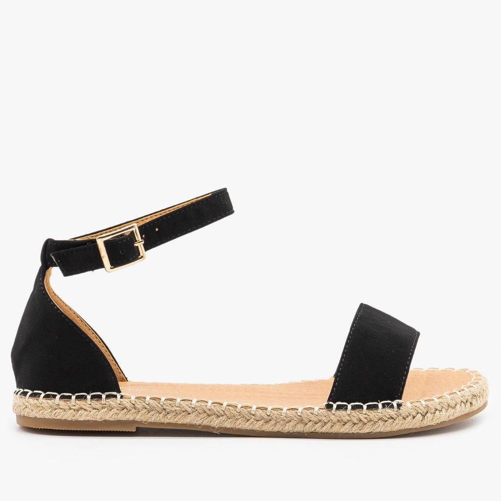Womens Adorable Open-Toe Espadrille Sandals - Bella Marie - Black / 5