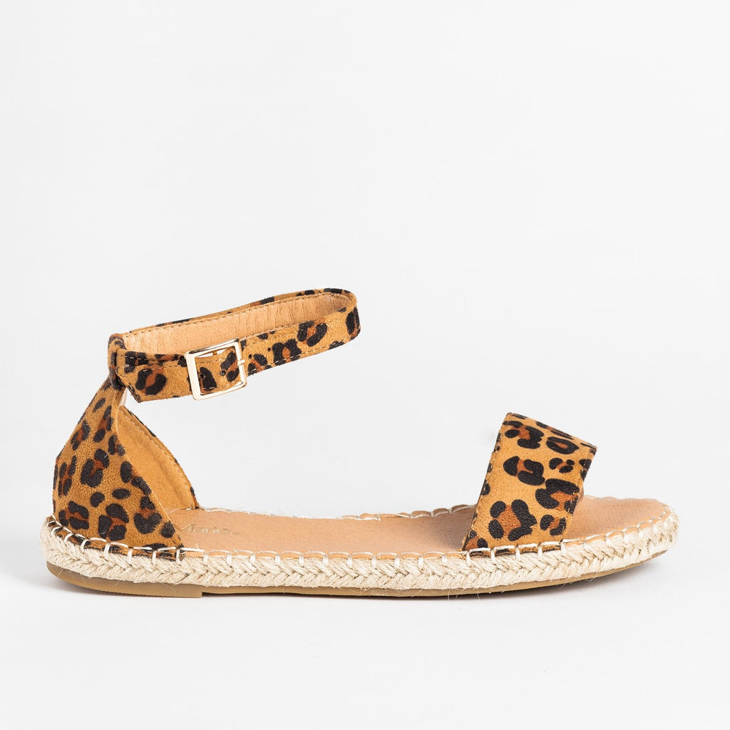 Womens Adorable Open-Toe Espadrille Sandals - Bella Marie - Leopard / 5