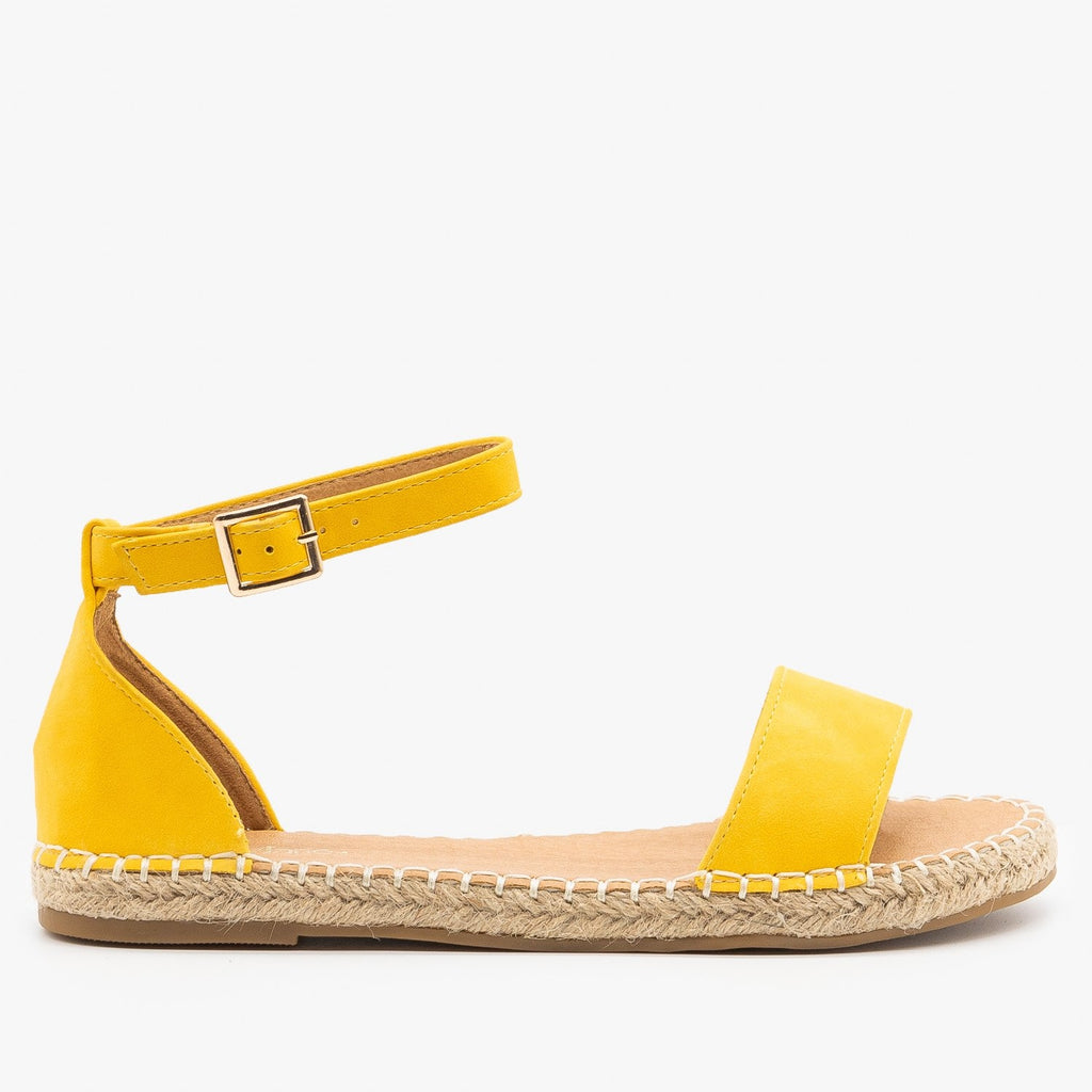 Womens Adorable Open-Toe Espadrille Sandals - Bella Marie - Mustard / 5