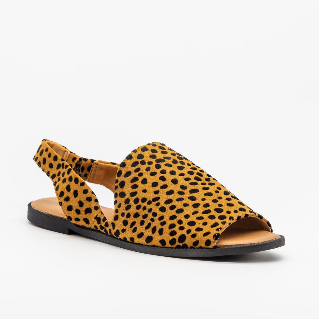 Womens Adorable Open-Toed Slingback Flats - Qupid Shoes - Camel Black Leopard / 5