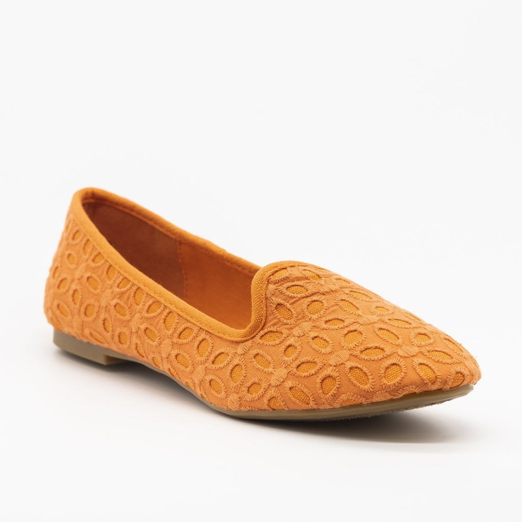 Womens Adorable Pastel Eyelet Loafer Flats - Bamboo Shoes