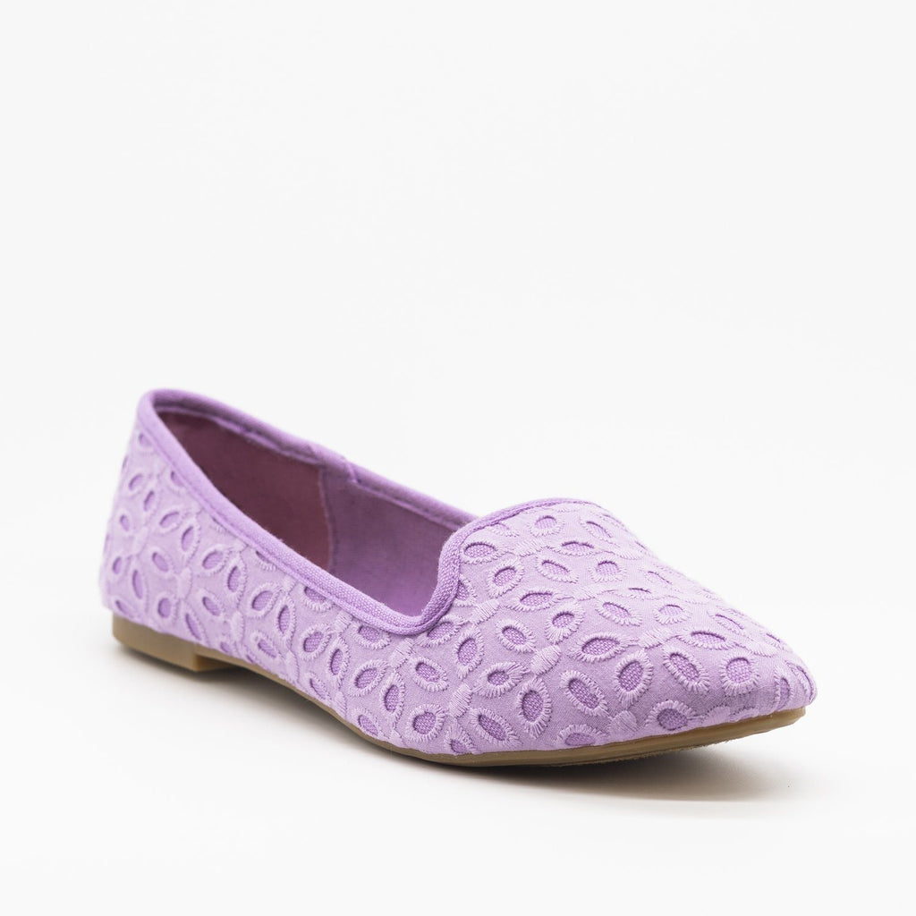 Womens Adorable Pastel Eyelet Loafer Flats - Bamboo Shoes - Lavender / 5