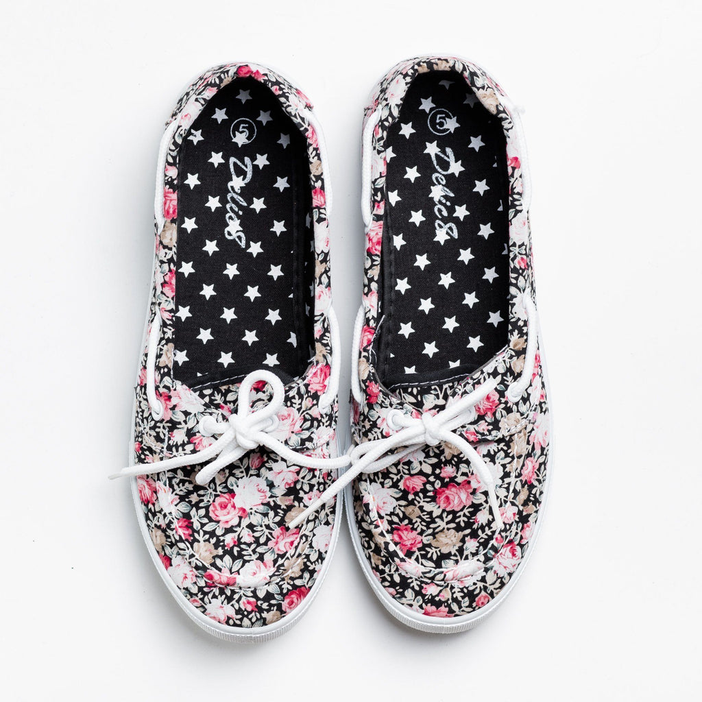 Womens Adorable Slip-On Boat Shoes - Navig8 Shoes - Black Rose / 5