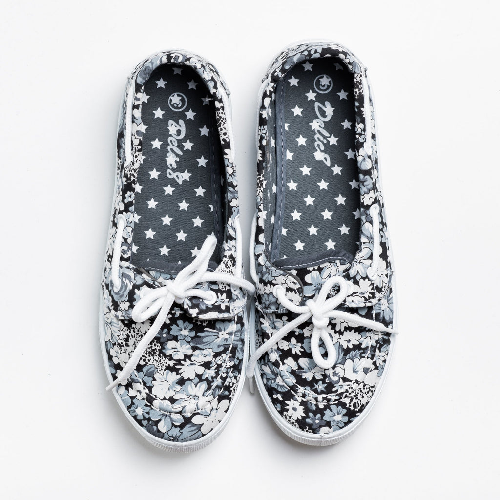 Womens Adorable Slip-On Boat Shoes - Navig8 Shoes - Gray Floral / 5