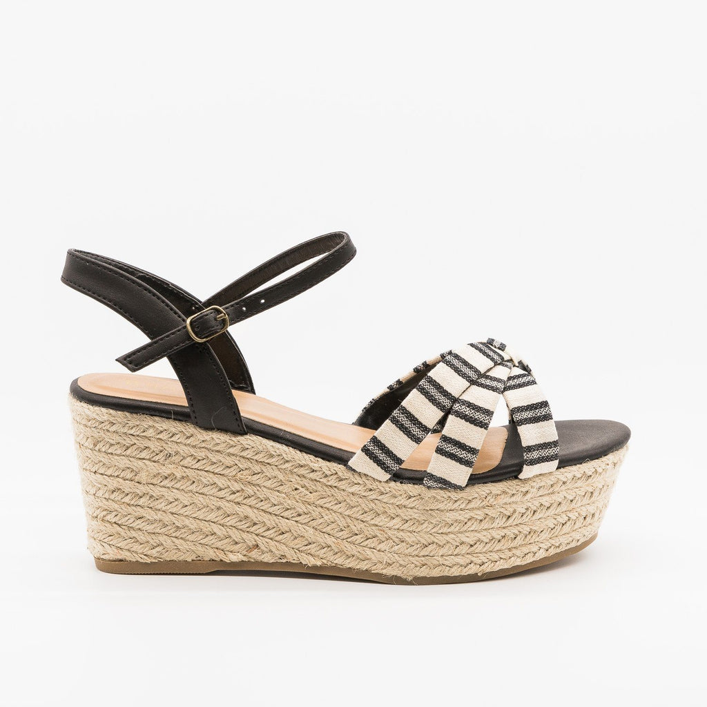 Womens Adorable Striped Espadrille Flatform Sandals - Bamboo Shoes - Black / 5