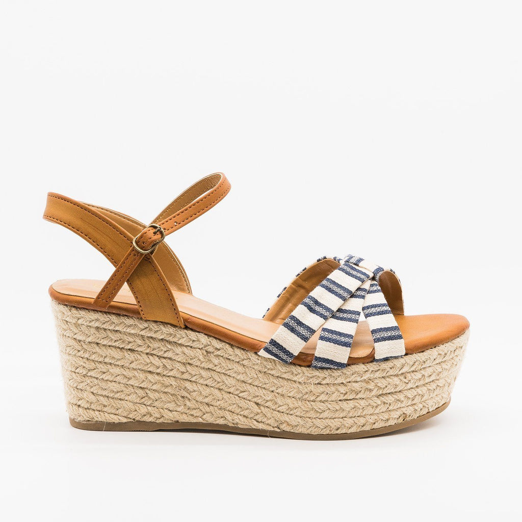 Womens Adorable Striped Espadrille Flatform Sandals - Bamboo Shoes - Navy / 5