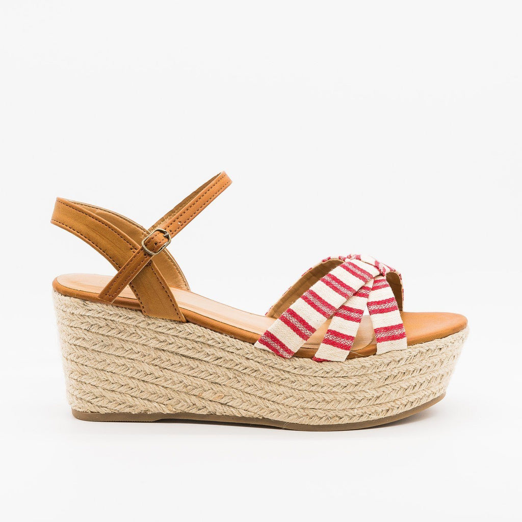 Womens Adorable Striped Espadrille Flatform Sandals - Bamboo Shoes - Red / 5
