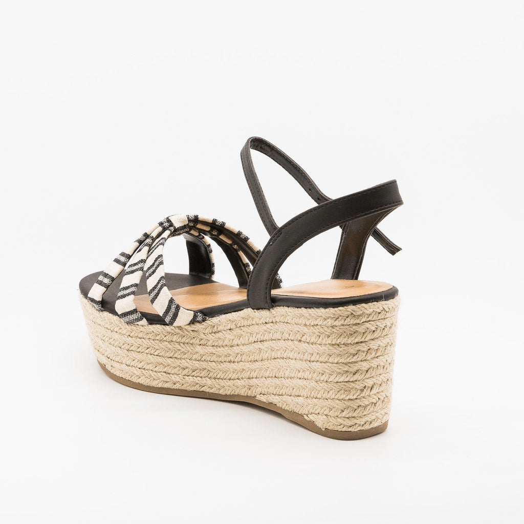 Womens Adorable Striped Espadrille Flatform Sandals - Bamboo Shoes