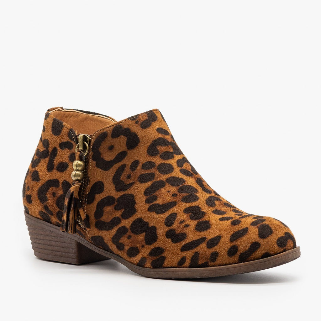 Womens Adorable Tasseled Leopard Ankle Booties - Mata