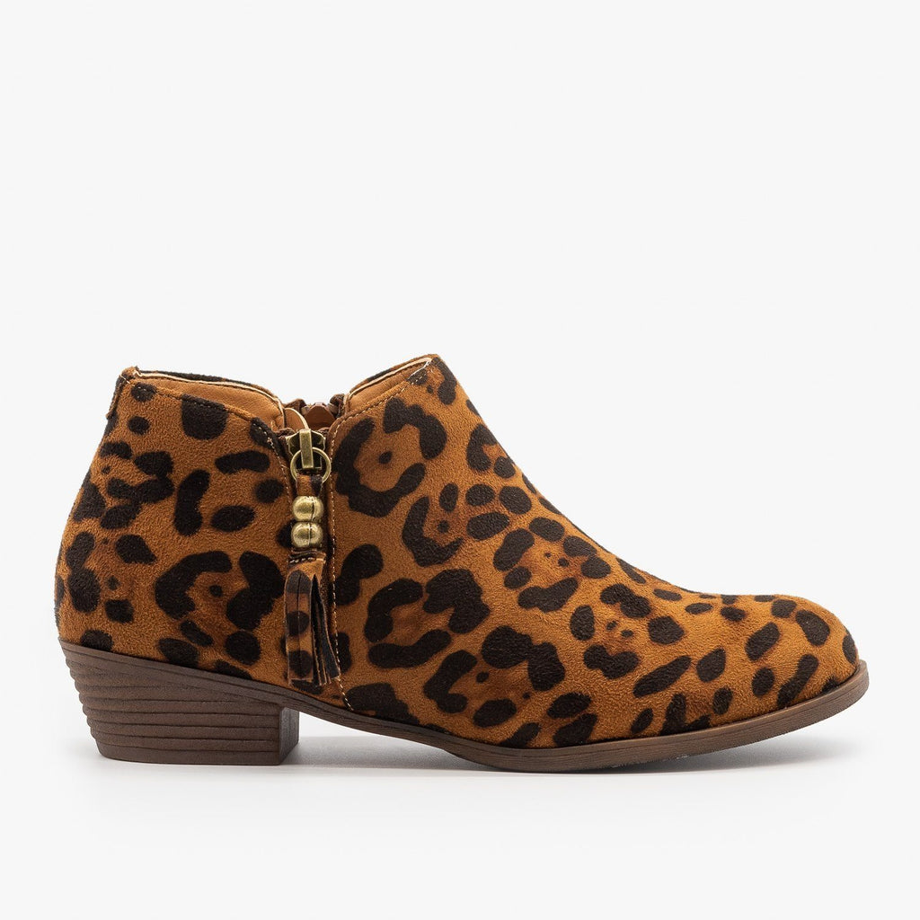 Womens Adorable Tasseled Leopard Ankle Booties - Mata - Leopard / 5