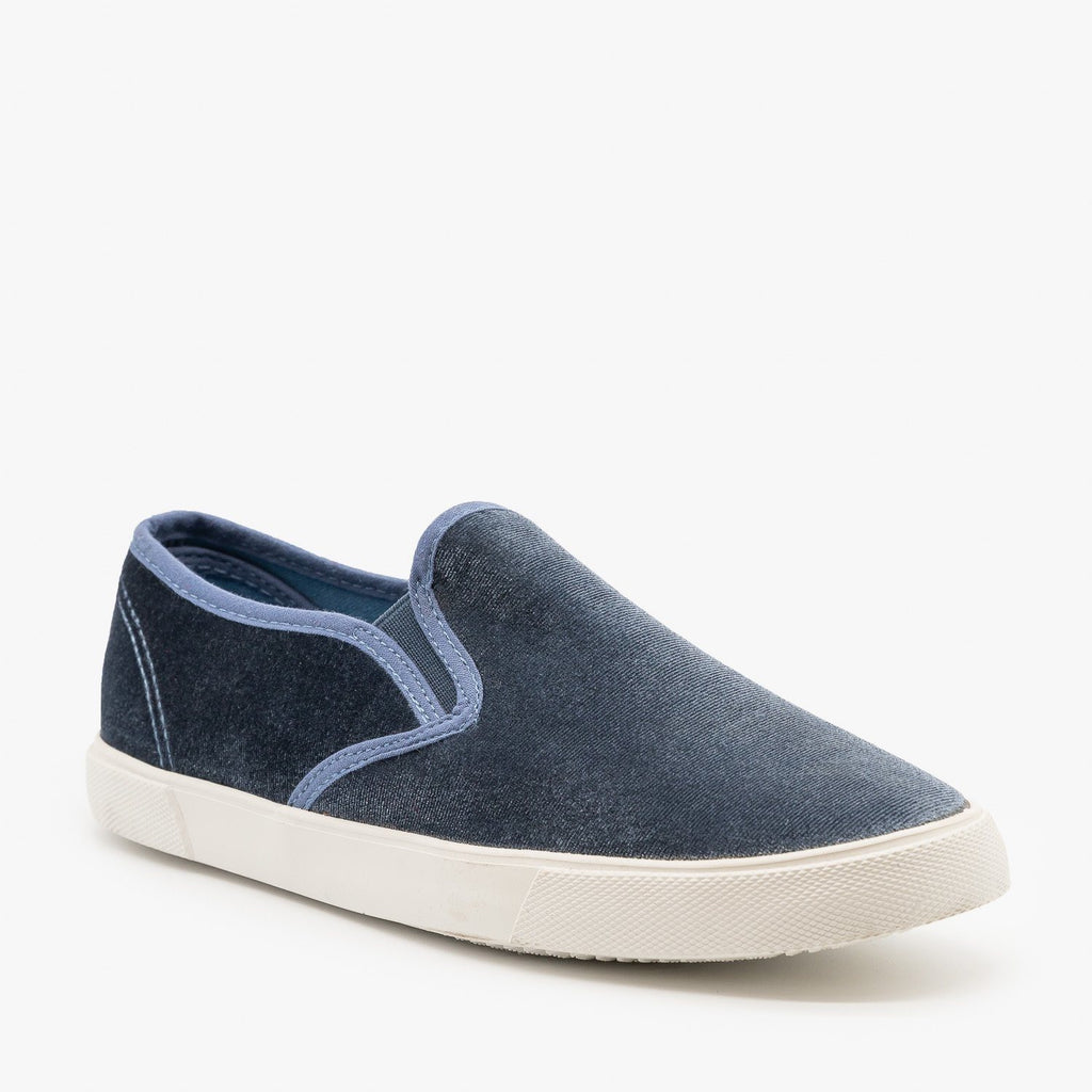 Womens Adorable Velvet Slip-On Sneakers - Qupid Shoes - Ice Blue / 5