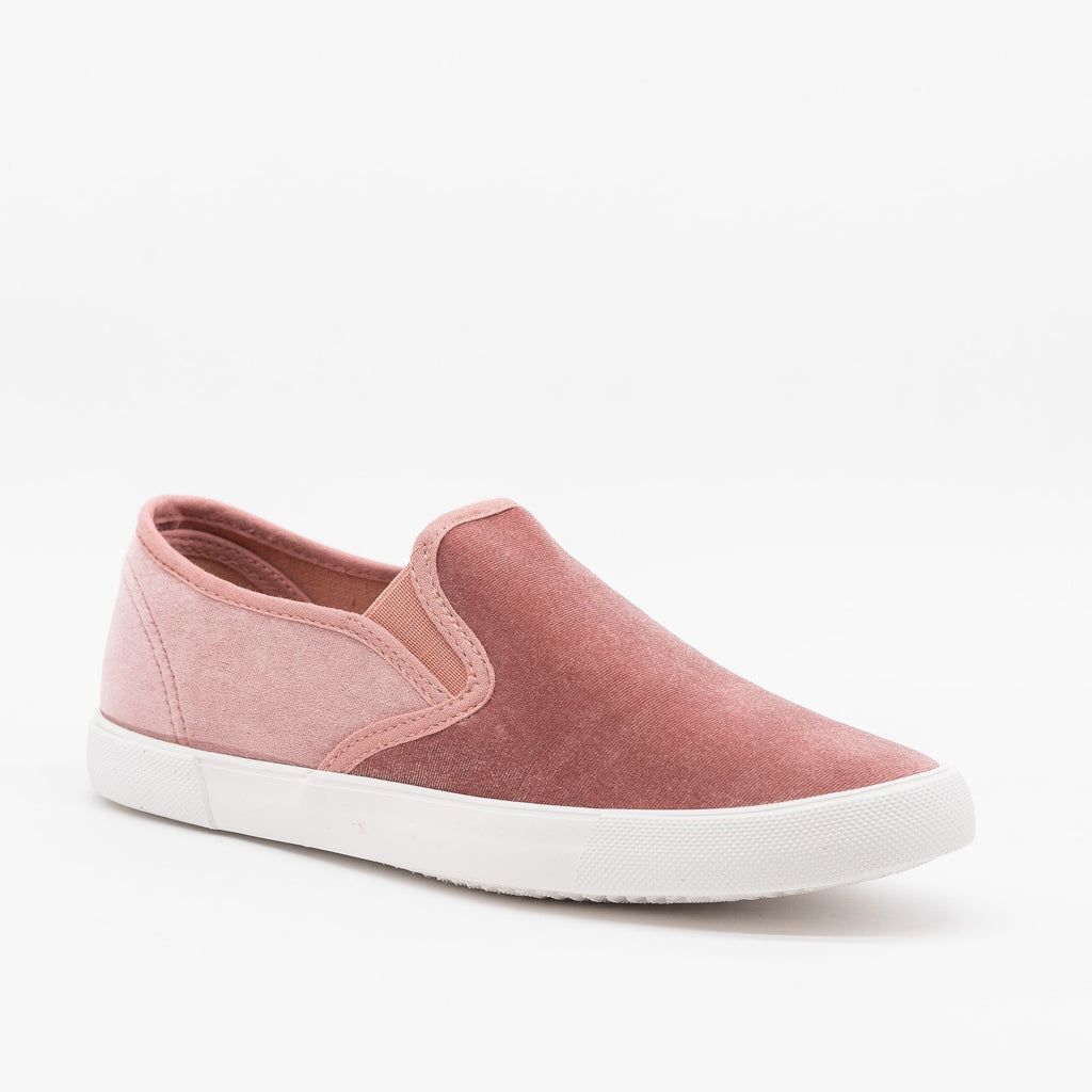Womens Adorable Velvet Slip-On Sneakers - Qupid Shoes - Blush / 5