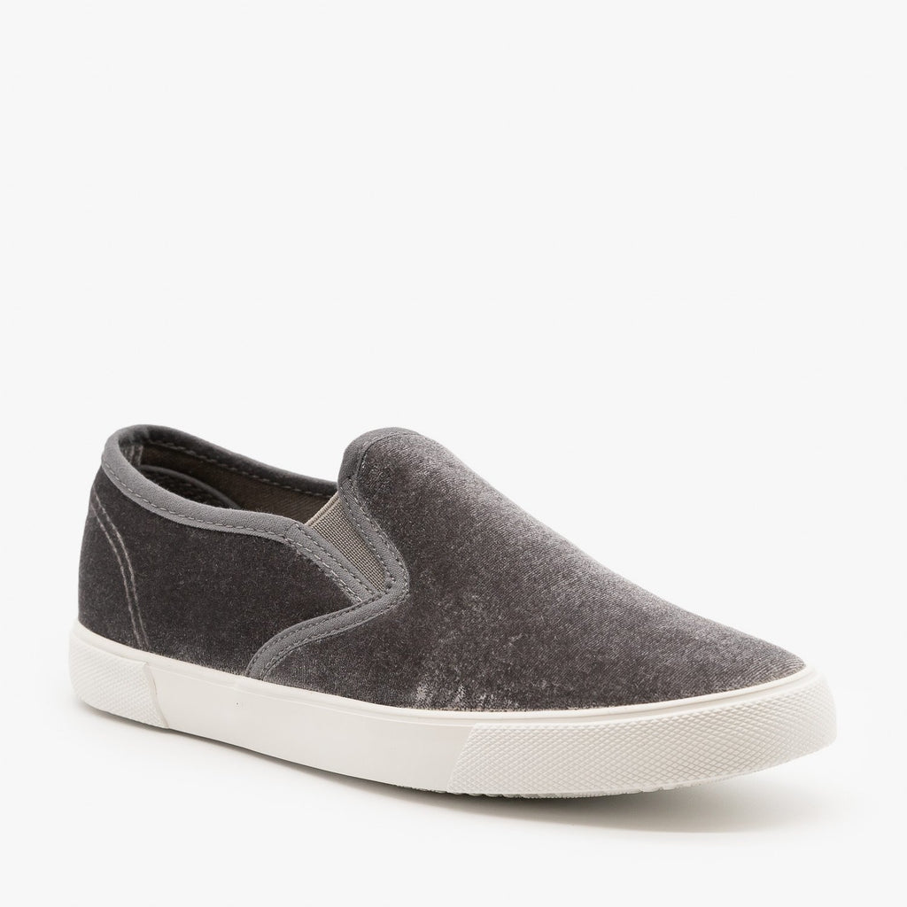 Womens Adorable Velvet Slip-On Sneakers - Qupid Shoes - Gray / 5