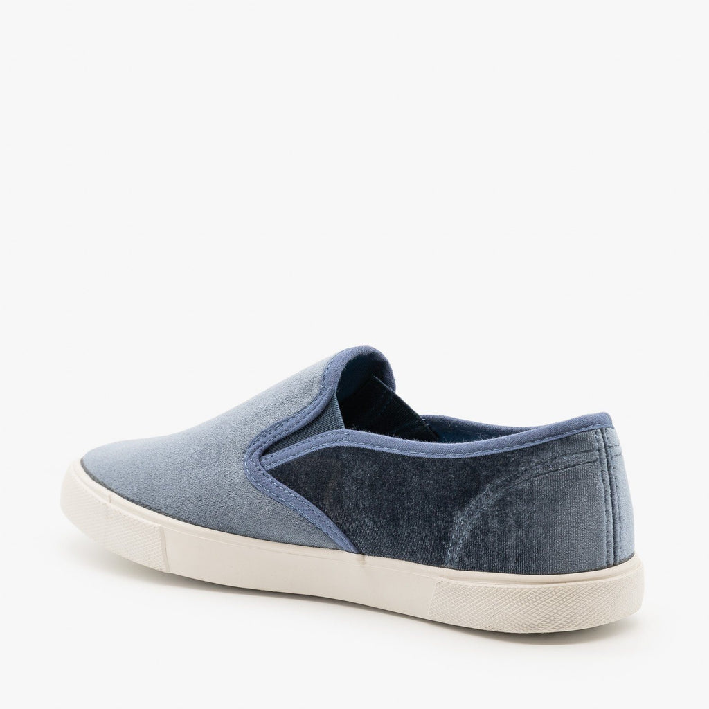 Womens Adorable Velvet Slip-On Sneakers - Qupid Shoes