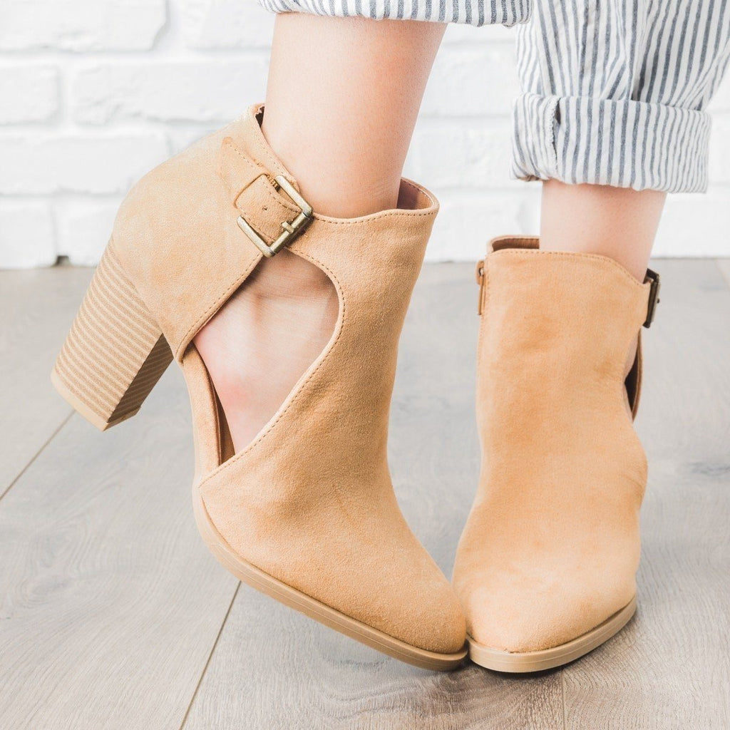 Womens Almond Toe Side Cut Heel Booties - Qupid Shoes - Toffee / 5
