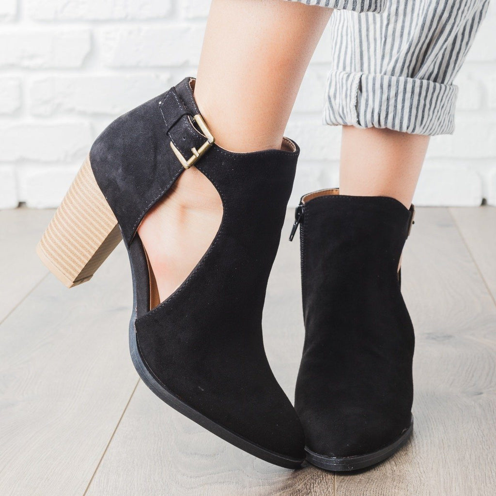 Womens Almond Toe Side Cut Heel Booties - Qupid Shoes - Black / 5