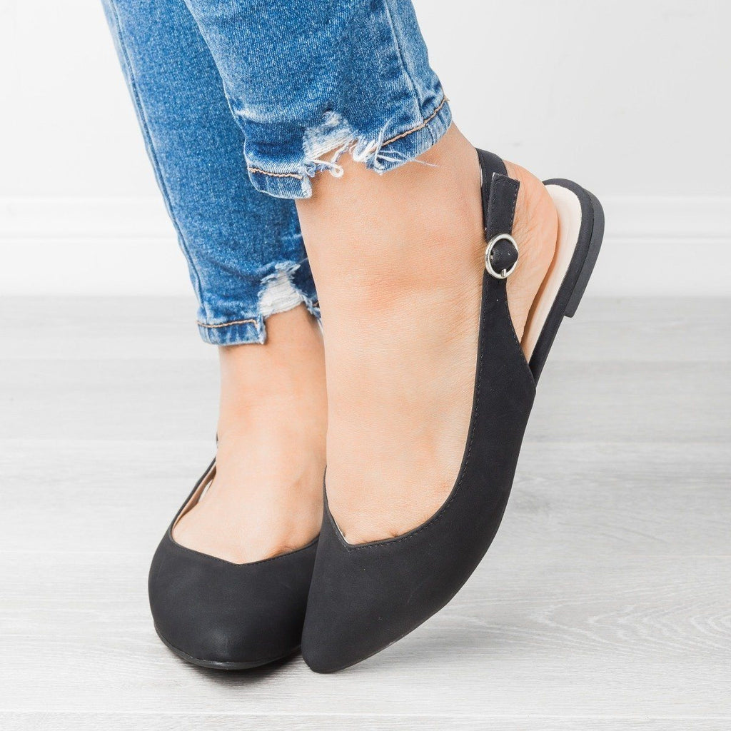 Womens Almond Toe Slingback Flats - Qupid Shoes - Black / 7.5