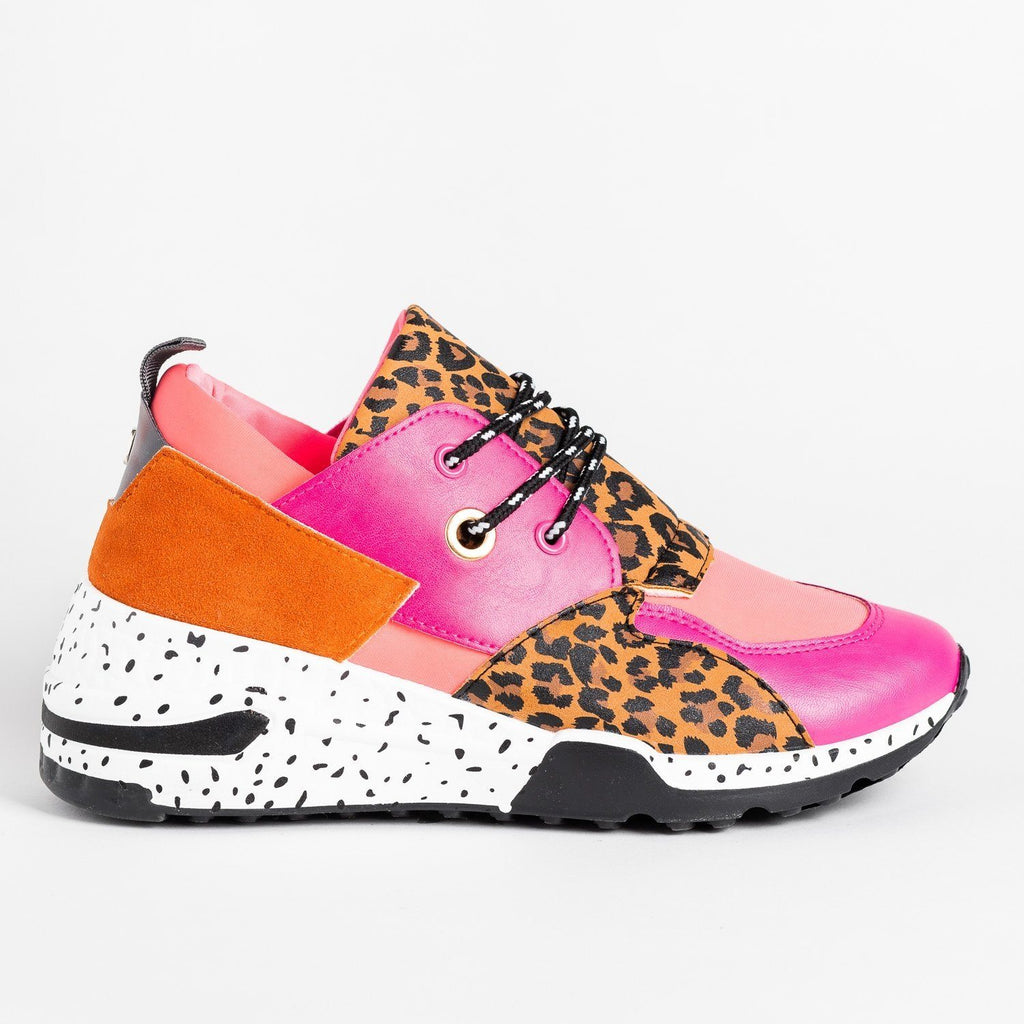 Womens Animal Print 90s-Inspired Sneakers - La Sheelah Shoes - Fuchsia Leopard / 5