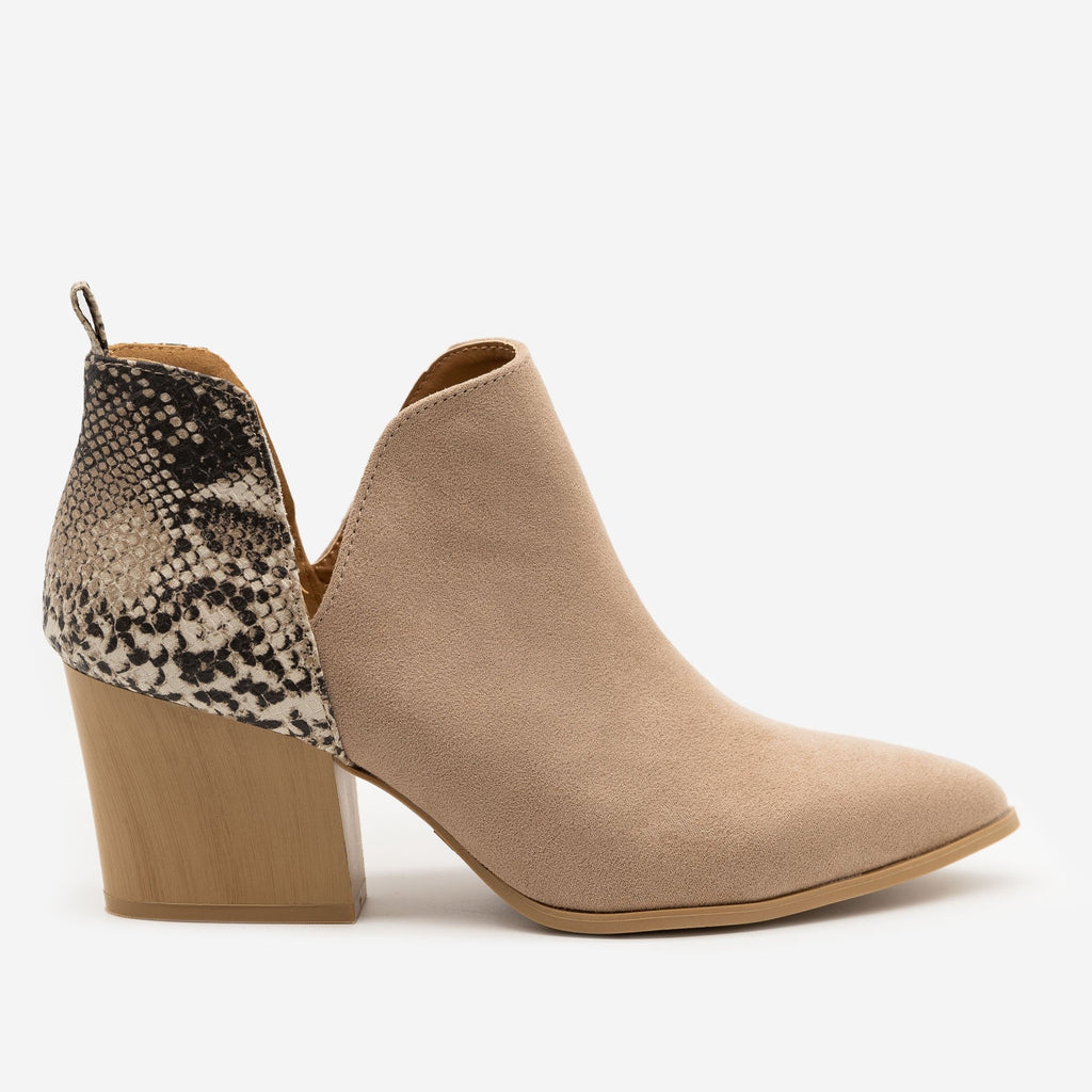 Women's Animal Print Accent Booties - Qupid Shoes - Taupe / 5