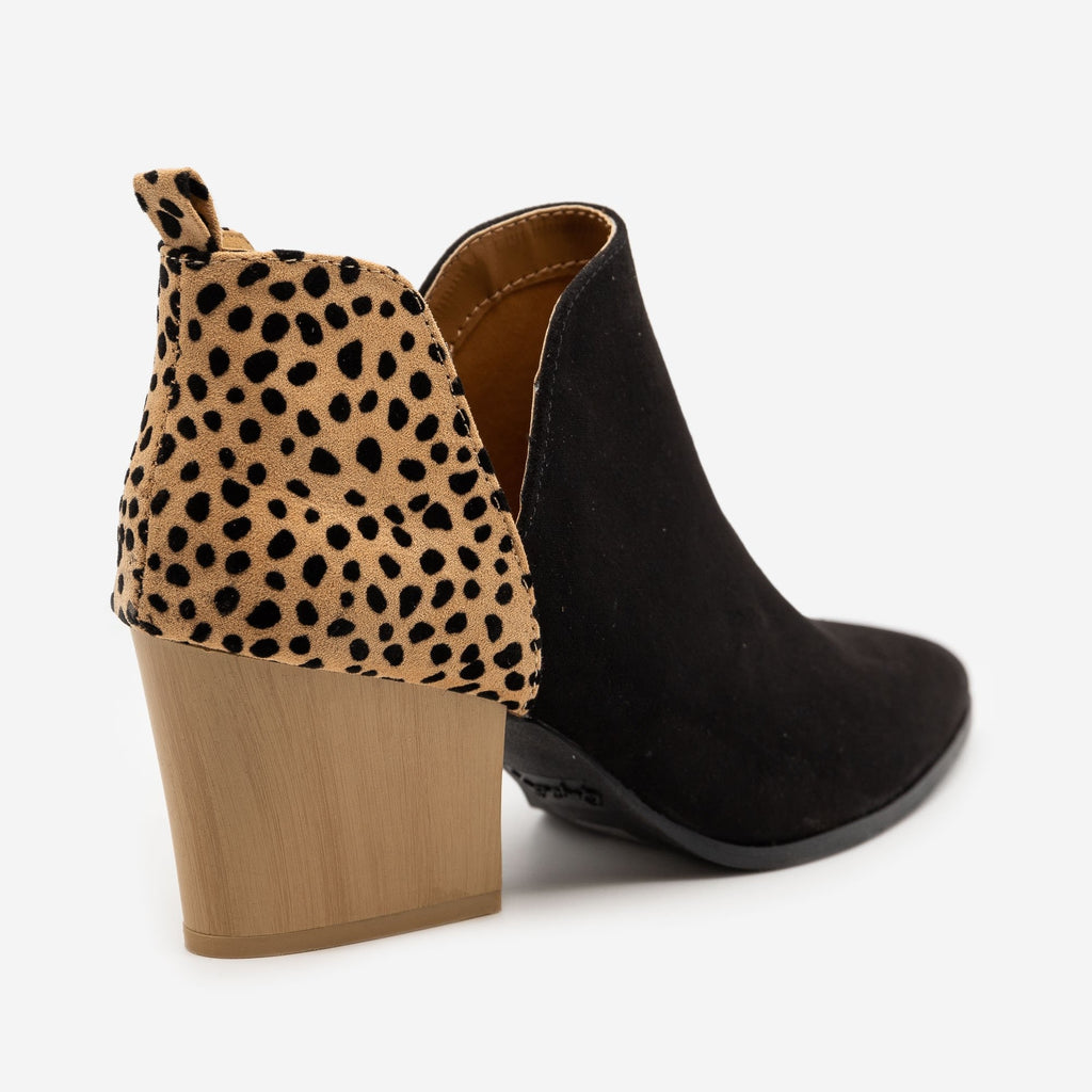 Women's Animal Print Accent Booties - Qupid Shoes