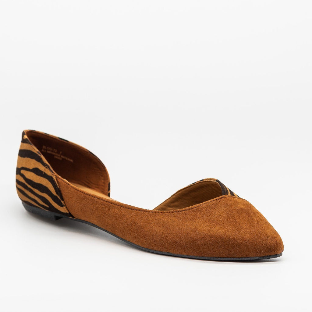 Womens Animal Print Accent Flats - Bamboo Shoes - Dark Camel / 5