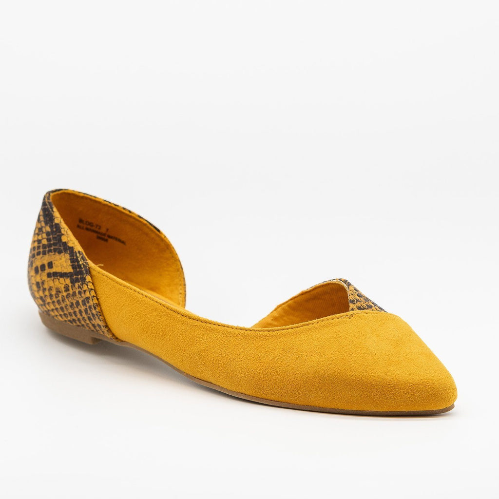 Womens Animal Print Accent Flats - Bamboo Shoes - Marigold / 5