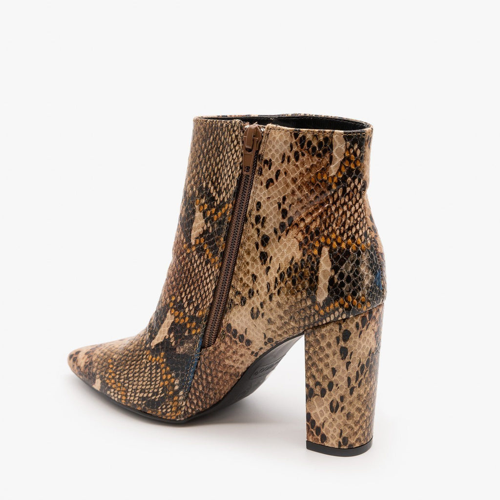 Womens Animal Print Ankle Booties - Bamboo Shoes