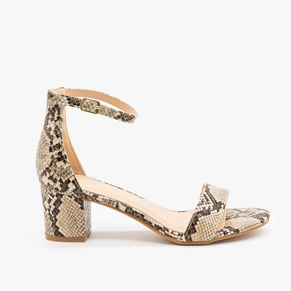 Womens Animal Print Block Heels - Bella Marie - Python / 5