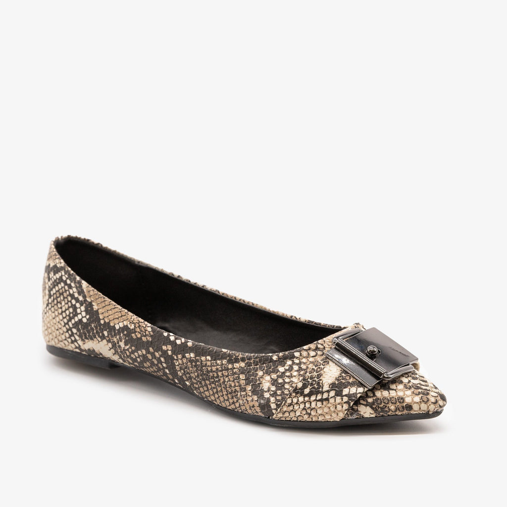 Womens Animal Print Buckle Flats - Qupid Shoes - Beige Brown Snake / 5