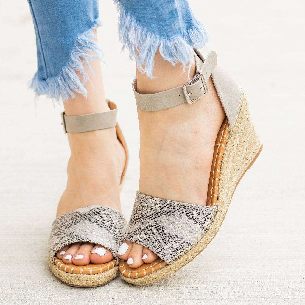 Womens Animal Print Espadrille Sandal Wedges - Delicious Shoes