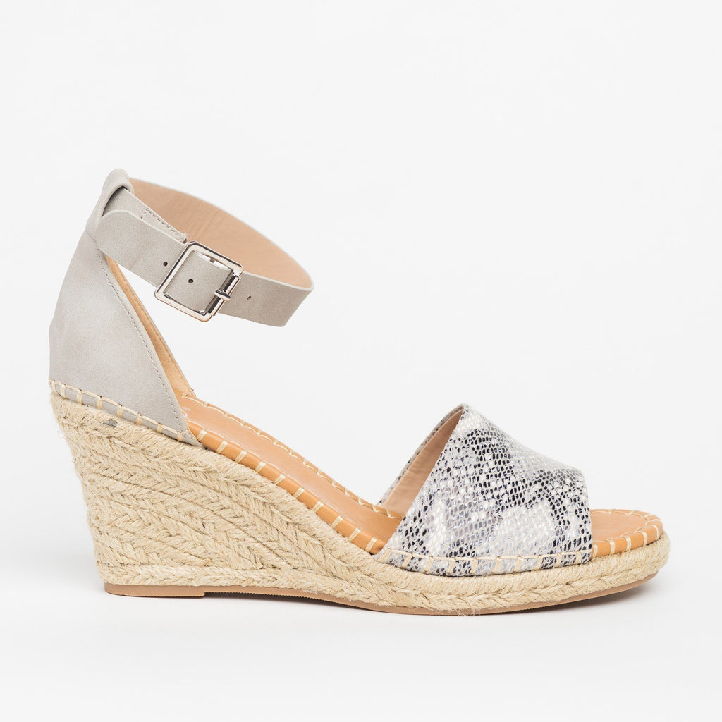 Womens Animal Print Espadrille Sandal Wedges - Delicious Shoes - Beige Python / 5