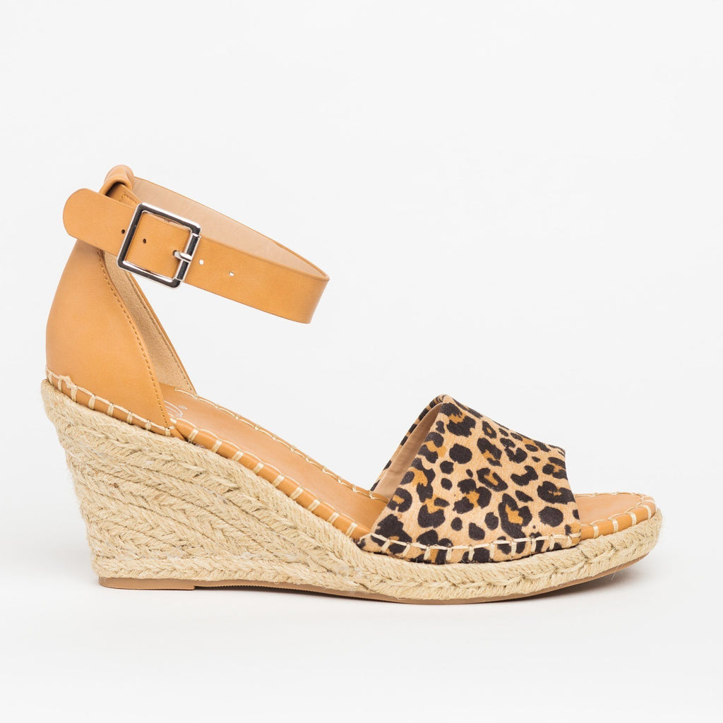 Womens Animal Print Espadrille Sandal Wedges - Delicious Shoes - Natural Cheetah / 5
