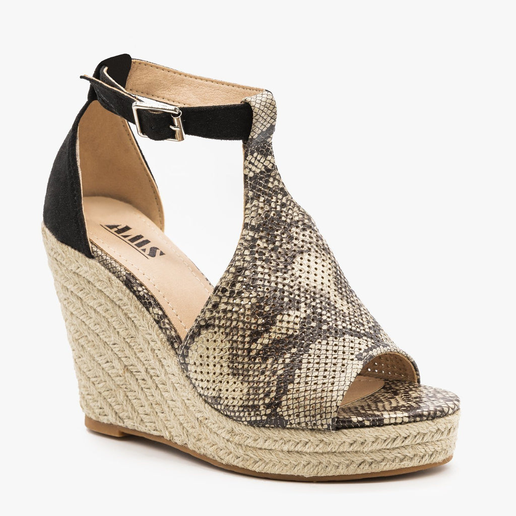 Womens Animal Print Espadrille Wedges - AMS Shoes